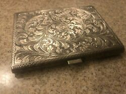 Vintage Italian Silver 800 Beautifully Inlaid Silver Cigarette Box From Rome