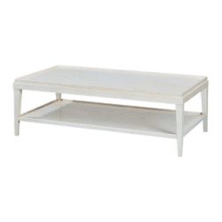 Classic Rustic Rectangular Coffee Table - White Lacquer