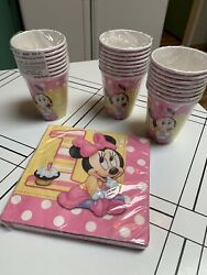 Minnie Mouse 1st Birthday 9oz Paper Cups 24 + Napkins 16 Party Supplies