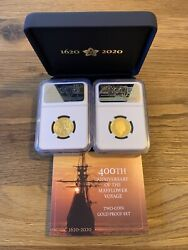 2020 Mayflower Voyage Anniversary Two-coin Set Gold Proof Pf70 Ngc With Coa+box