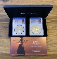 2020 Mayflower Voyage Silver Proof Two-coin Set Pf70uc Ngc With Coalow+box