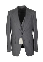 New Tom Ford Shelton Solid Gray 3 Piece Suit Size 46 / 36r U.s. Wool