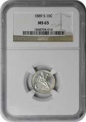 1889-s Liberty Seated Silver Dime Ms65 Ngc