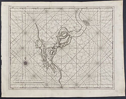 Valentijn - Map Of Suratte Or Soeratte River. 98, 1726 East India Engraving