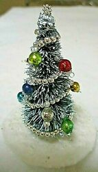 Miniature Decorated Bottle Brush Christmas Tree= 3 1/8 Tall==w/glass Ornments
