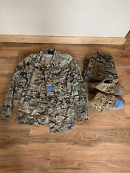 Modern Day Us Marine Uniform Woodland With Pants Hat And Boots