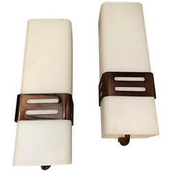 Set Of Two Stilnovo Mid-century Modern Copper And Glass Wall Sconces 1960s