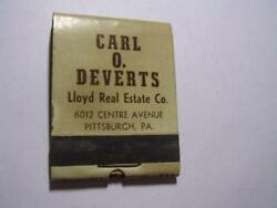 1930and039s Carl O Deverts Lloyd Real Estate 6012 Centre Pittsburgh Pa Full Matchbook