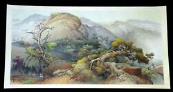 1970s Modern Chinese Painting Scroll Landscape By Yue Tin Mui 1892-1985kal