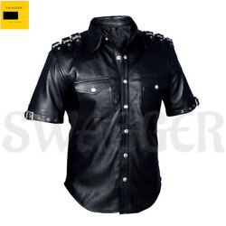 Menand039s Black Police Uniform Shirt Hot Black Bluf Gay Real Sheep Leather