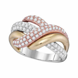 14kt Tri-tone Gold Womens Round Diamond Crossover Band Ring 1-1/3 Cttw