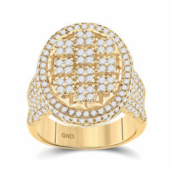 10kt Yellow Gold Mens Round Diamond Oval Statement Cluster Ring 2-3/4 Cttw