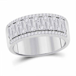 14kt White Gold Mens Baguette Round Diamond Band Ring 1-1/4 Cttw