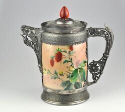 Large Jug, Pitcher By Simpson, Hall, Miller And Co - Silver Plate, Porcelain Rare