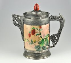 Large Jug Pitcher By Simpson Hall Miller And Co - Silver Plate Porcelain Rare