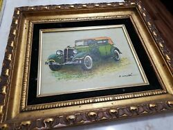 Vintage R Smith Oil Painting Old Car Framed Original Wallhanging Needs Cleaning