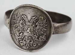 Ww1 Finland Ring Russian Empire Wwi Eagle Coin Sterling Silver 84 Trench Art