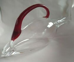 Eisch Duck Wine Decanter, Red Handle, Thick Glass, Ships Priority Mail