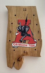 Alabama Crimson Tide Clock- Hand Crafted Pine. Stained Sealed Burned. Usa Made