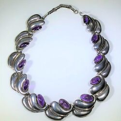Antonia Pineda Vintage Mexican Silver And Amethyst Necklace Signed 16-18l
