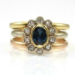 22k Yellow White Rose Gold Tri-gold Natural Blue White Sapphire Halo Ring Size 6