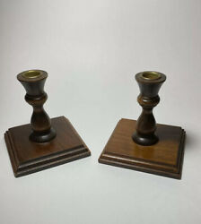 Wooden CANDLESTICK Holders Pair of Two Boho Farmhouse Vintage