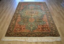 Clearance Rare Green Antique Genuine Turkish Handmade Rug Free Shipping 7ftx10ft