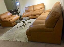 John Lewis Tan Italian Leather 3 Seater 2 Seater And Chair