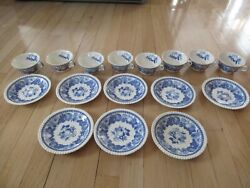 Set Of 8 Teacups And Saucers Copeland Spode Blue And White Fruit Pattern England