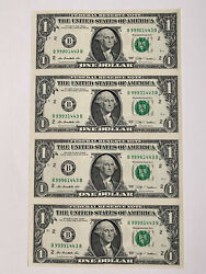 4 Of 1 Bill Uncut 2009 Sheet Uncirculated Notes Currency One Dollar Serial 999