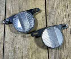 Old School Bmx Mx Cateye Reflector For Bmx Plastic Mags Pair Used