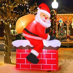 5ft Inflatable Christmas Santa Climbs The Smokestack Lighted Blow Up Inflatable