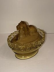 Antique Fenton Amber Lion Covered Candy/nut Bowl