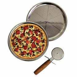 Steel Perforated Pizza And Lahmacun Tray And Cutter - 3 Pieces