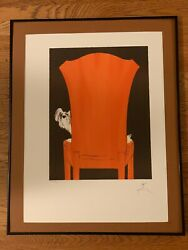 """René Gruau, """"pooch In Chair"""" - Hand Signed/numbered/framed Ltd Ed Lithograph"""