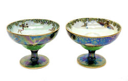 Pair Wedgwood Luster Leap Frogging Elves Cups By Daisy Makeig-jones, Circa 1925