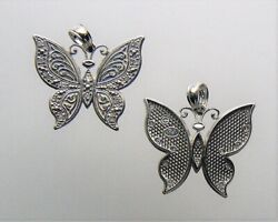 14kt White Solid Gold Butterfly Diamond Pendant Necklace