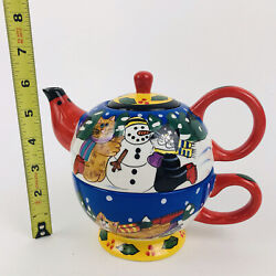 2002 Catzilla Candace Reiter Christmas 3 Piece Cat Teapot Cup Lid Hand Painted
