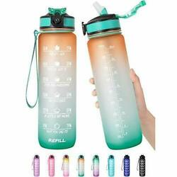 32 Oz Motivational Water Bottle With Time Marker And Straw - Bpa Free And Leakproof