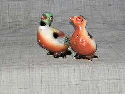 Cute Little Vintage Pheasant Salt And Pepper Shakers Full Of Personality