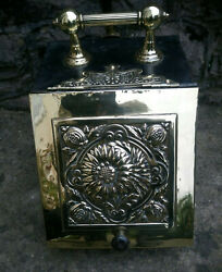 Victorian Brass Metal Coal Scuttle Storage Box Container Plus Shovel Dated 1865