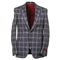 Isaia Modern-fit Layered Check Wool-cashmere-silk Sport Coat 38r Eu 48 Gregory