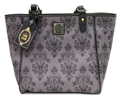 New Disney Parks Dooney And Bourke Haunted Mansion Grey Wallpaper Tote Purse