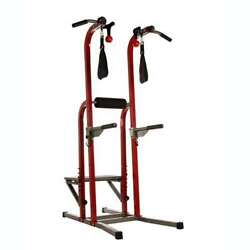 Stamina X Fortress Power Tower Home Gym Pull Up Workout Station, Red Open Box