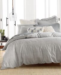 Lucky Brand Home King Tile Seed Stitch 3pc Duvet Cover Set Grey Nip Msrp 320