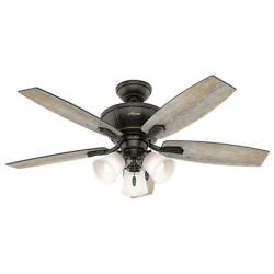 48 Small Room Noble Bronze Indoor Led Ceiling Fan Cased White Glass Shade Lamp