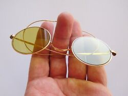Incredible French Victorian 19th Century 18k Gold Light Green Sun Glasses