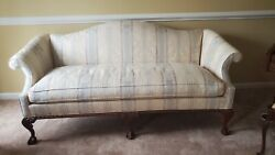 Hickory Chair Sofa Chippendale, Ball And Claw Carved Feet, Damask Fabric