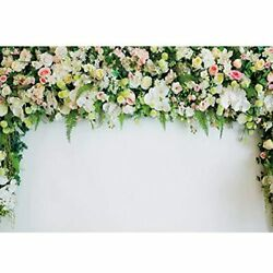 Haoyiyi 7x5ft Wedding Backdrop Sheer Tulle White Curtain Green Ivy Wall Flowers