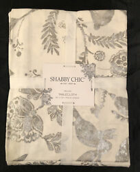 New Shabby Chic Easter Tablecloth Oblong 60 X 120 Farmhouse White Silver Bunnies